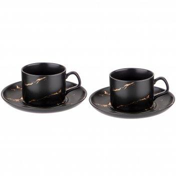 Набор чайных пар на 2 персоны коллекция золотой мрамор объем