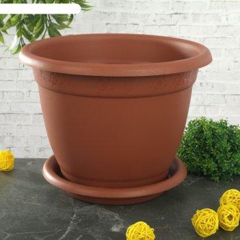 Горшок для цветов d=24 см борнео, с поддоном, терракотовый
