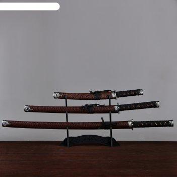 Катаны сувенирные 3в1 на подставке, бордовые ножны, под змею