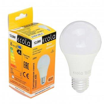Лампа светодиодная ecola 12 вт, a60  220-240 в, e27 4000 k (композит) 110x