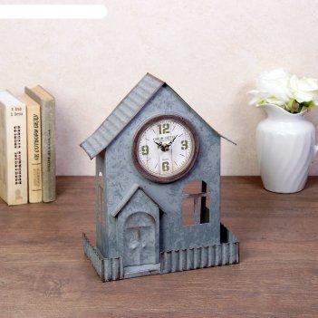 Часы настольные домик, серые, 13.5х24х33 см