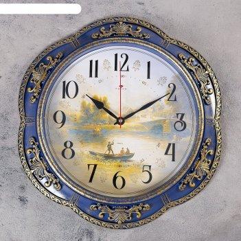 Часы настенные, серия: природа, диабо,синие  35.5 см