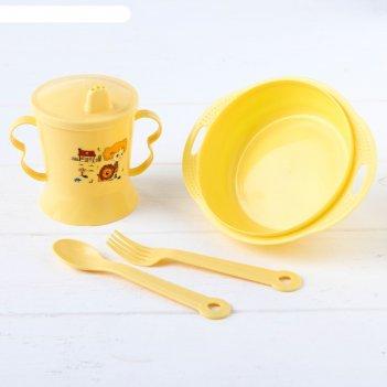 Набор детской посуды, 4 предмета: миска, ложка, вилка, поильник с твёрдым