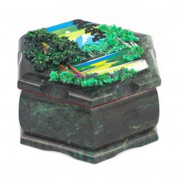 Шкатулка шестигранная с рисунком летний пейзаж 140х125х70 мм 1
