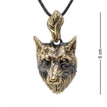 Am-1683 подвеска волк (латунь, янтарь)