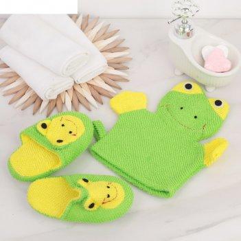 Набор банный детский 2 предм. (мочалка,тапочки-15 см)