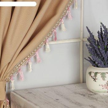 Тесьма с кисточками, 7 см, 12 ± 1 м, цвет белый/розовый/золотой