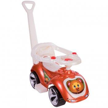 Ор809 каталка машинка с родительской ручкой мишка (lapa) цвет бронза
