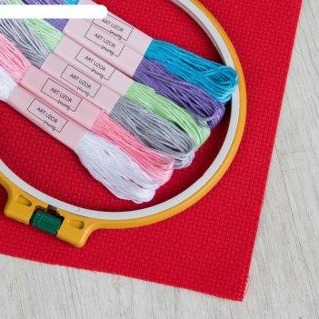Набор для вышивания: канва без рисунка 15x20 см, нитки 6 шт, пяльцы d16 см