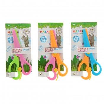 Ножницы детские 13,5 см, безопасные, пластиковые с автоматическим механизм