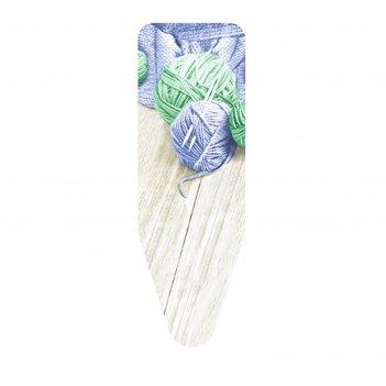 Чехол для гладильной доски клубки пряжи синий/зеленый, 140х55 см, хлопок