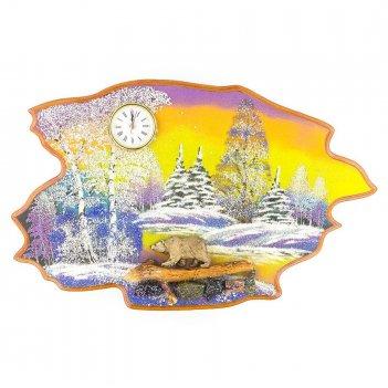 Часы с картиной медведь идет зима 50х32 см