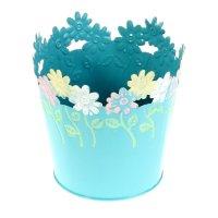 Кашпо оцинкованное цветочки 12*12 см, голубое