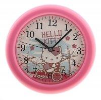Часы настенные круглые hello kitty, детские, розовые
