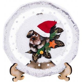 Тарелка стеклянная декоративная на подставке диаметр 150. рисунок: символ
