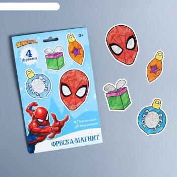 Фреска-магнит новогодние игрушки человек-паук