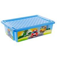Ящик для игрушек на колесах city cars 30 л, с крышкой, цвет голубой