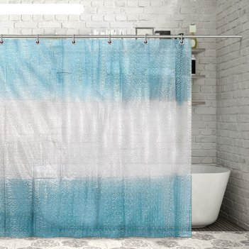 Штора для ванной 180x180 см диско 3d, eva, цвет голубой