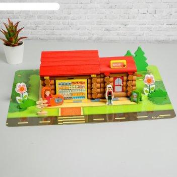 Деревянный развивающий конструктор «собери магазин» 129 деталей, 11x31x26