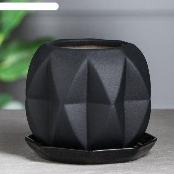 Горшок для цветов сфера муар, 1,5 л, черный