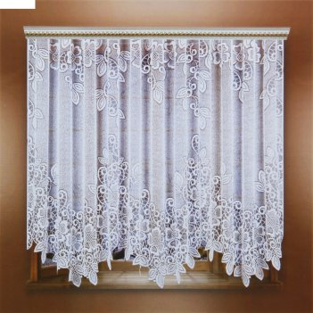 Штора со шторной лентой, размер 325х205 см, цвет белый