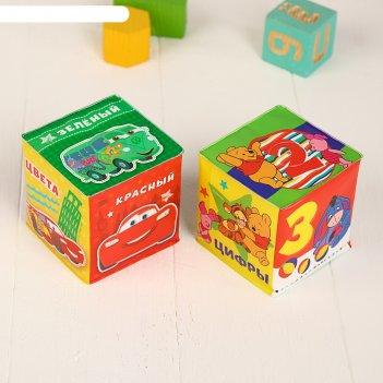 Мягкие кубики «учим цвета и цифры», со свистулькой, дисней р-р. 7*7см, для
