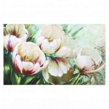 Картина на холсте садовые тюльпаны 60х100 см