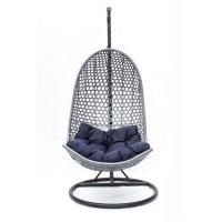 Подвесное кресло-качели на стальной штанге, серый
