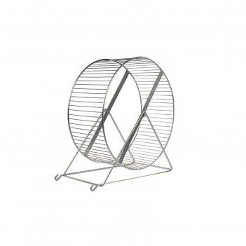 Колесо для грызунов металлическое, перекладины, 35 см, хром