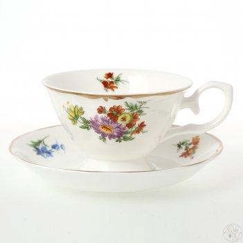Набор чайных пар мейсенский букет 230 мл (6 пар)
