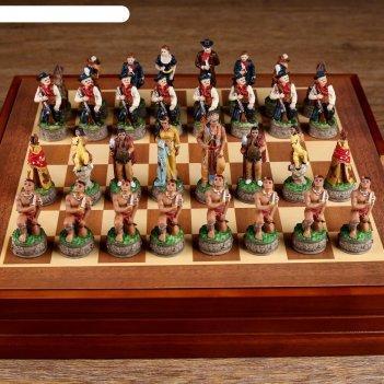 Шахматы сувенирные дикий запад (доска 36х36х6 см, король h=8 см, пешка h=6