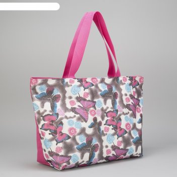 Сумка пляжная на молнии bagamas, 1 отдел, цвет розовый/сиреневый
