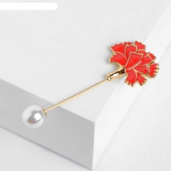 Булавка цветок гвоздика, 7см, цвет красно-белый в золоте