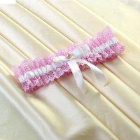 Подвязка для невесты, бело-розовая, бантик, бусина