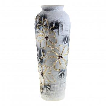 Ваза напольная форма арго цветы акрил, черно-белая
