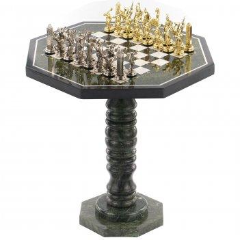 Шахматный стол фигуры метатели дисков мрамор змеевик металл 60