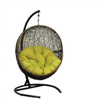 Подвесное кресло lunar coffee ми (175), каркас черный, подушка зеленая(сал