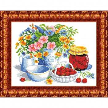 Канва с нанесенным рисунком для вышивки крестом «вишневое варенье», 23х30
