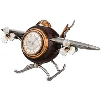 Часы настольные кварцевые самолет 35*21,5*16,5 см. диаметр циферблата=7 см