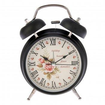 Будильник черный с подсветкой на циферблате цветы,holidays римск.цифры 2 з