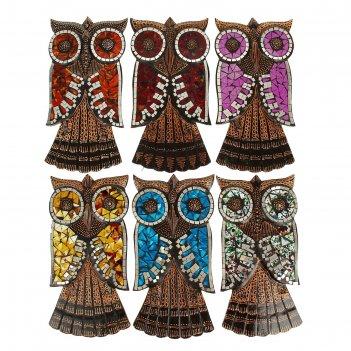 Сувенир сова мозайка 35 см настенная  микс