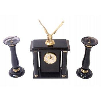 Часы, два подсвечника (обсидиан) 200х120х300 арт. ч-010
