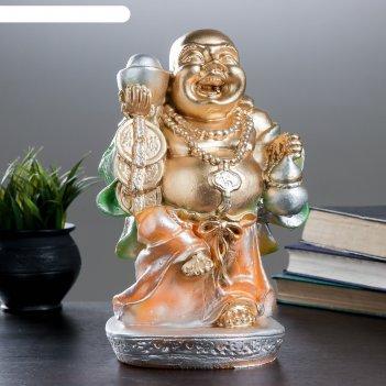 Копилка будда с деньгами 31х16см  микс