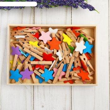 Набор прищепок в деревянной коробке   набор   50 штук