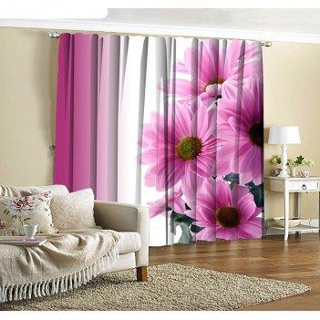 Фотошторы розовые хризантемы 145х260 см 2шт, габардин 160гр/м2, пэ100%