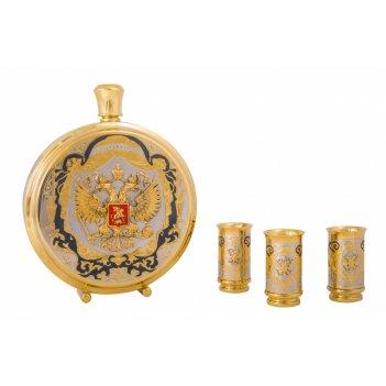 Набор охотничий гербовый (фляга большая, 3 стопки) златоуст