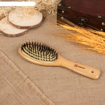Расчёска массажная «бамбук», натуральная щетина, цвет «светлое дерево»
