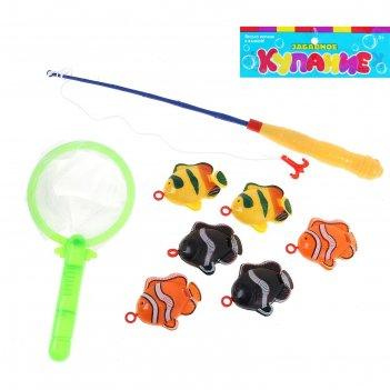 Рыбалка веселые рыбки 8 предметов: 1 удочка (дл.26см), 1 сачок, 6 рыбок