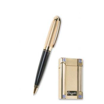Набор caseti: шариковая ручка + зажигалка кремниевая, кристалы swarovski