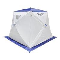 Палатка призма 200 (1-сл) с 2 входами, люкс в95т1, бело-синяя